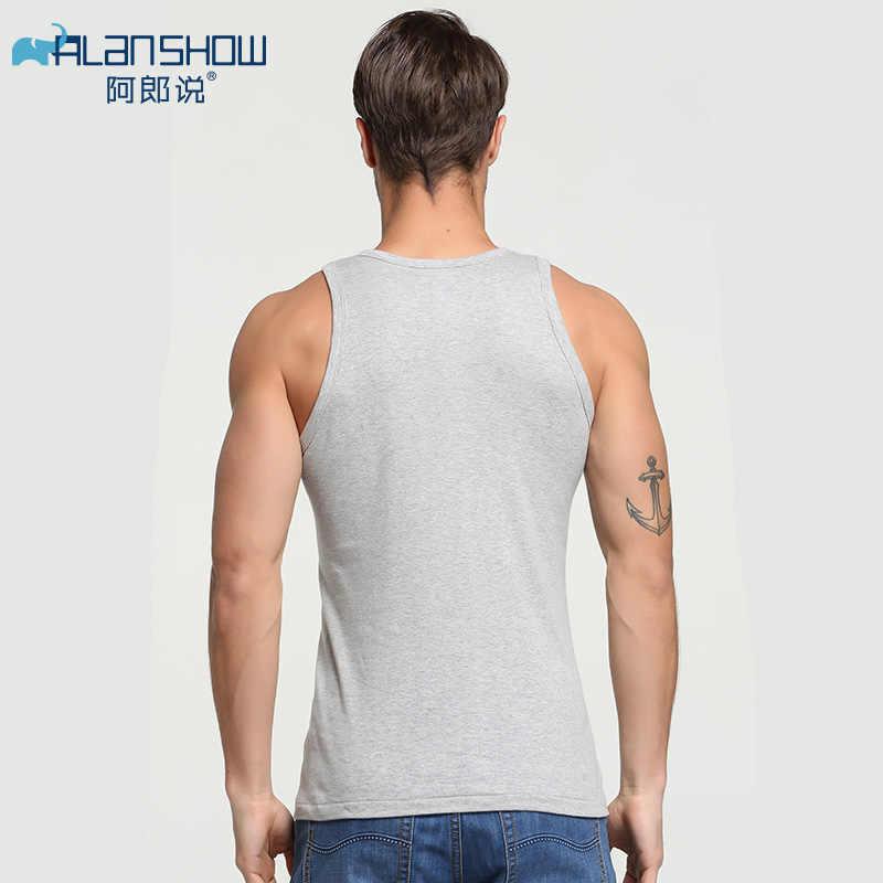 Alanshow mężczyźni bawełna Tank Tops bielizna mężczyzna podkoszulek przezroczyste koszule mężczyzna siłownia koszulka Fitness zapasy podkoszulki