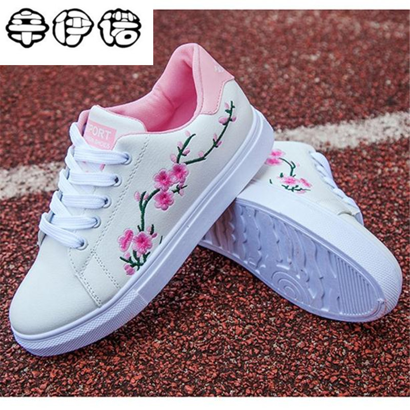 Embroidery Flowers Moccasins Women White shoes Female Soft Breathable Casual Shoes PU Leather Students Lace-Up Flat shoes Woman fashion embroidery flat platform shoes women casual shoes female soft breathable walking cute students canvas shoes tufli tenis