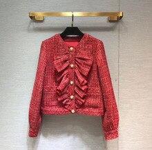 Womens Brand new high quality tweed coat 2019 spring autumn elegant ruffles jackets WOMEN  A438