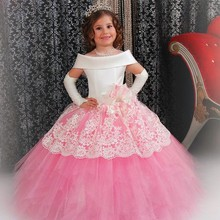 2017 first communion Pink White Flower Girl Dress Cute Ball Gown Satin Lace Girls Pageant Dress for Weddings Party Gown