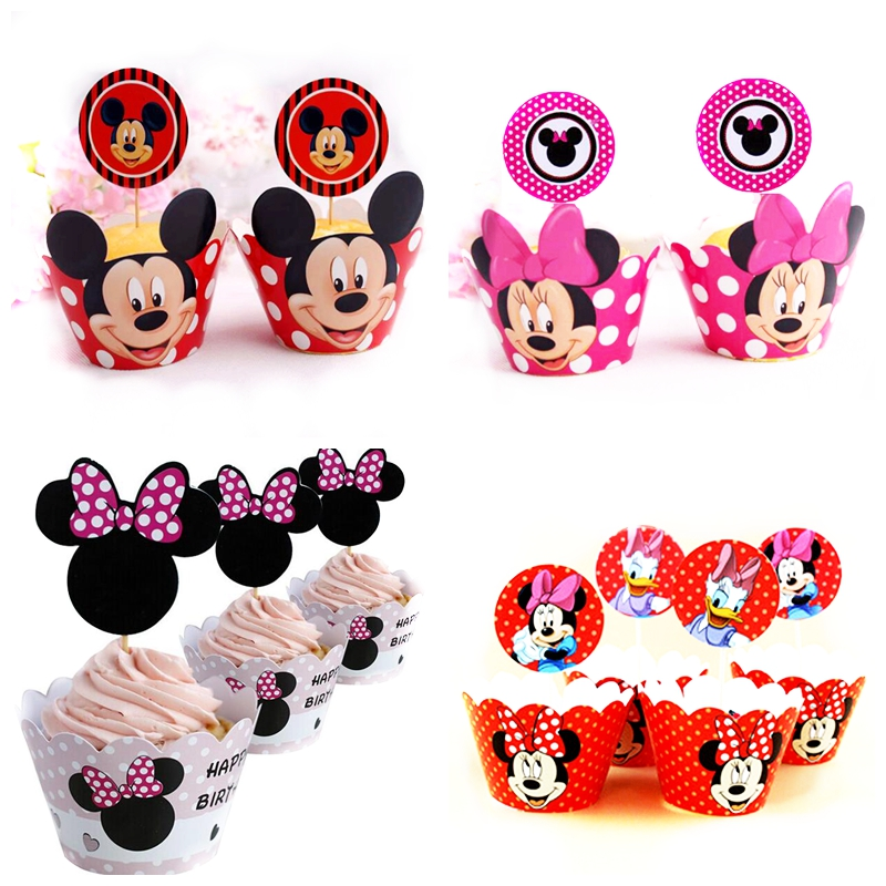 24pcs=12Sets Lot Of Cute Anime Theme Cartoon Cupcake Wrappers Toppers Kids Baby Birthday Party Supplies Wedding Cake Decoration