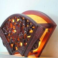 Китайский веер с твердой древесины бра Ретро Лофт сад Коридор Спальня прикроватный Настенные светильники резьба по дереву домашнего освещ