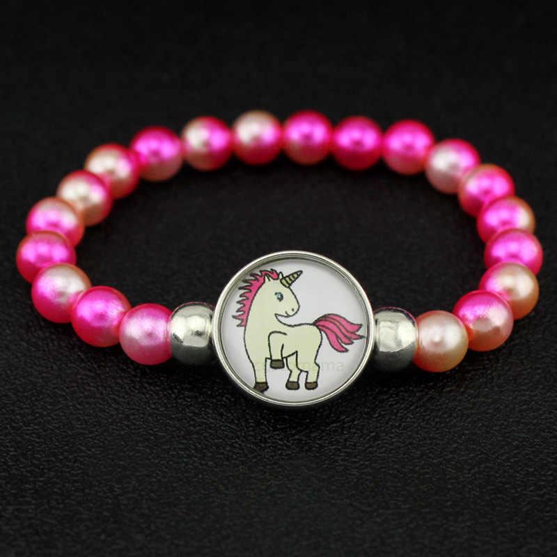 "Unicorn חרוזים צמידי 18 מ""מ הצמד כפתורי כיפת קרושון פלמינגו סוס קסמי טרנדי תכשיטי בנות נשים ילד יוניסקס מתנה"
