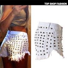 three colours Women's Fashion Brand Vintage Tassel Rivet Ripped Loose High Waisted Short Jeans Punk Sexy Hot Woman Denim Shorts