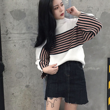 [Soonyour] 2016ฤดูใบไม้ร่วงแฟชั่นใหม่คอเต่าหลวมแขนยาวแยกร่วมเสื้อยืดสีตีสีดำและสีขาว2สีYD51600