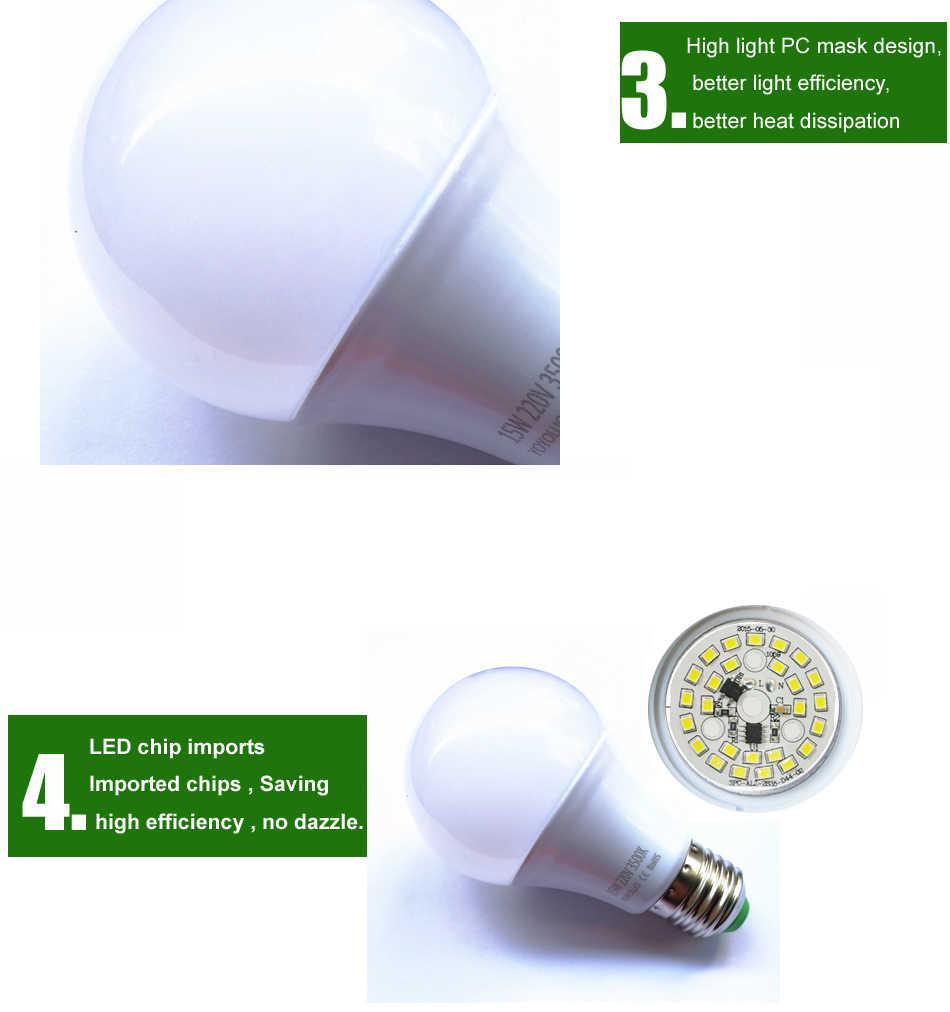 4 יח'\חבילה באיכות גבוהה הובילה הנורה e27 מנורת led B22 3 w 5 w 7 w 9 w 12 w 15 w 110 V 220 V 230 V תאורה בבית החיסכון באנרגיה אלומיניום קירור