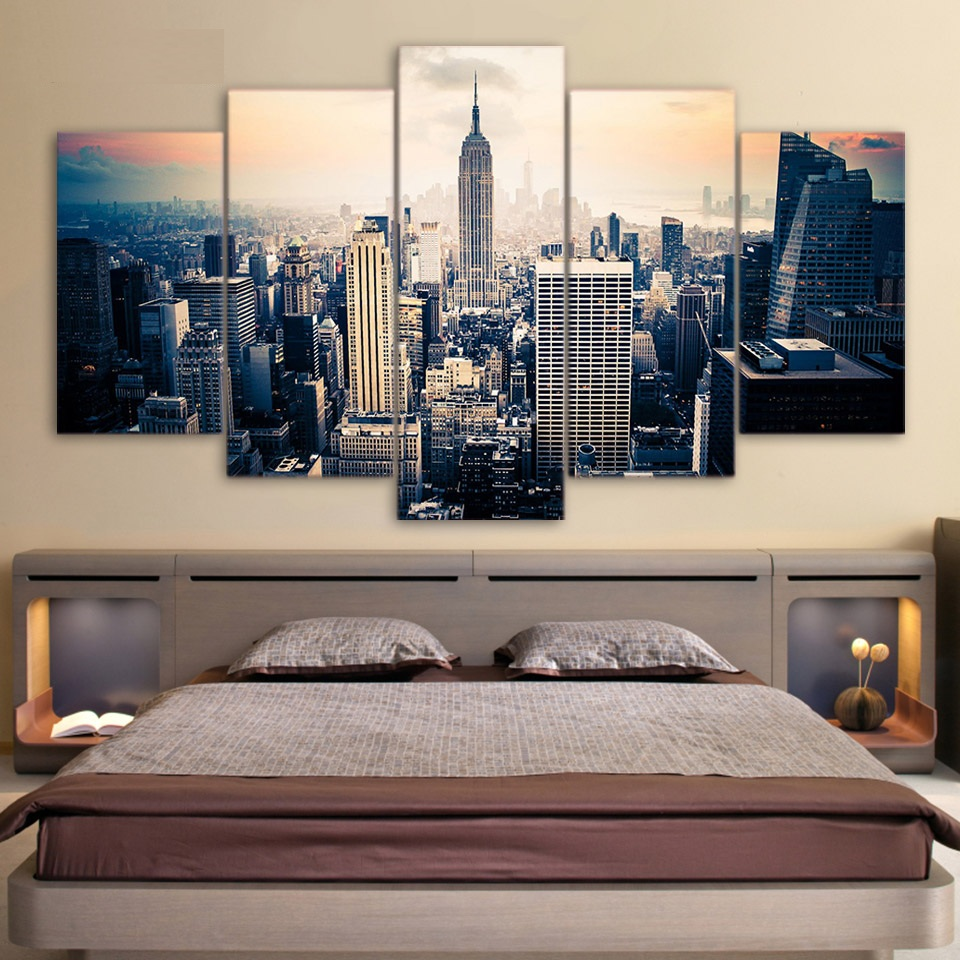 5 piece canvas art Printed new york city Painting on canvas room ...