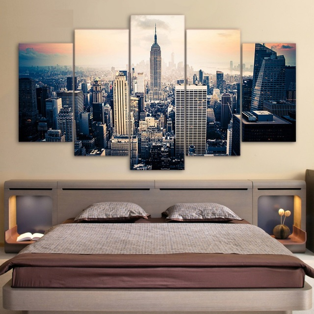 Awesome 5 Piece Canvas Art Printed New York City Painting On Canvas Room Decoration  Modular Print Poster