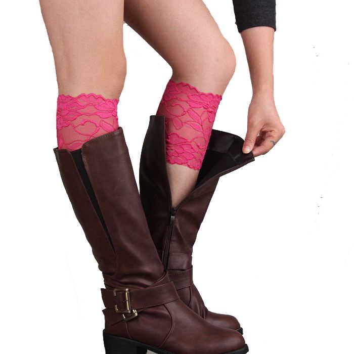 2016 Sıcak Satış Yaz Dantel Kadınlar Streç Çizme Bacak Manşetleri Yumuşak Bağcıklı Çizme Çorap Ücretsiz Kargo
