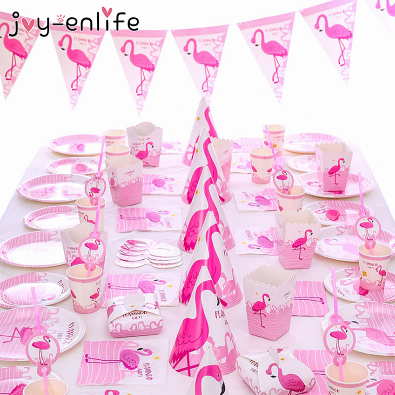 Pink Flamingo Birthday Party Decoration Paper Plates Napkins Cups Tableware Flamingo Wedding Decoration Summer Party Supplies