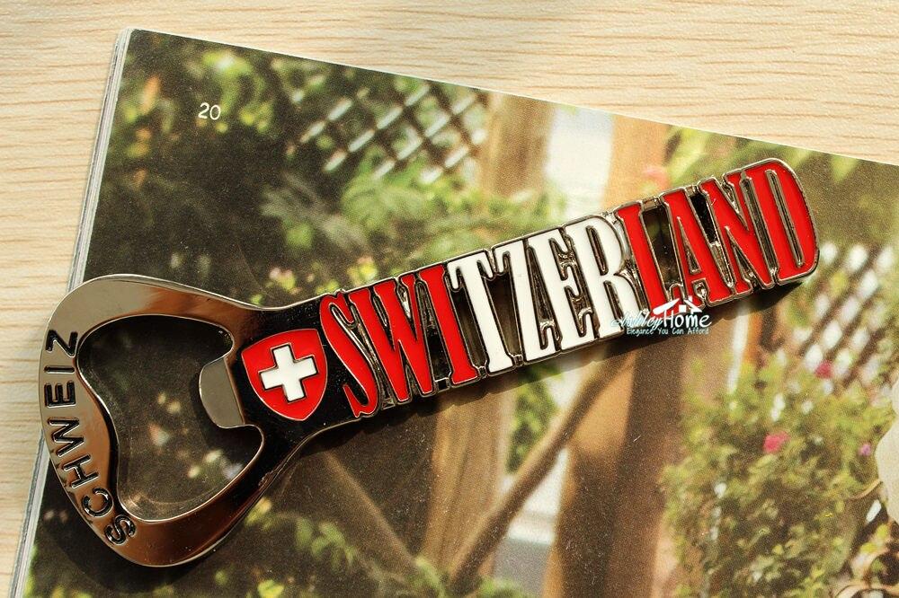 Switzerland tourist travel souvenir metal fridge magnet beer bottle opener craft in fridge - Beer bottle opener fridge magnet ...