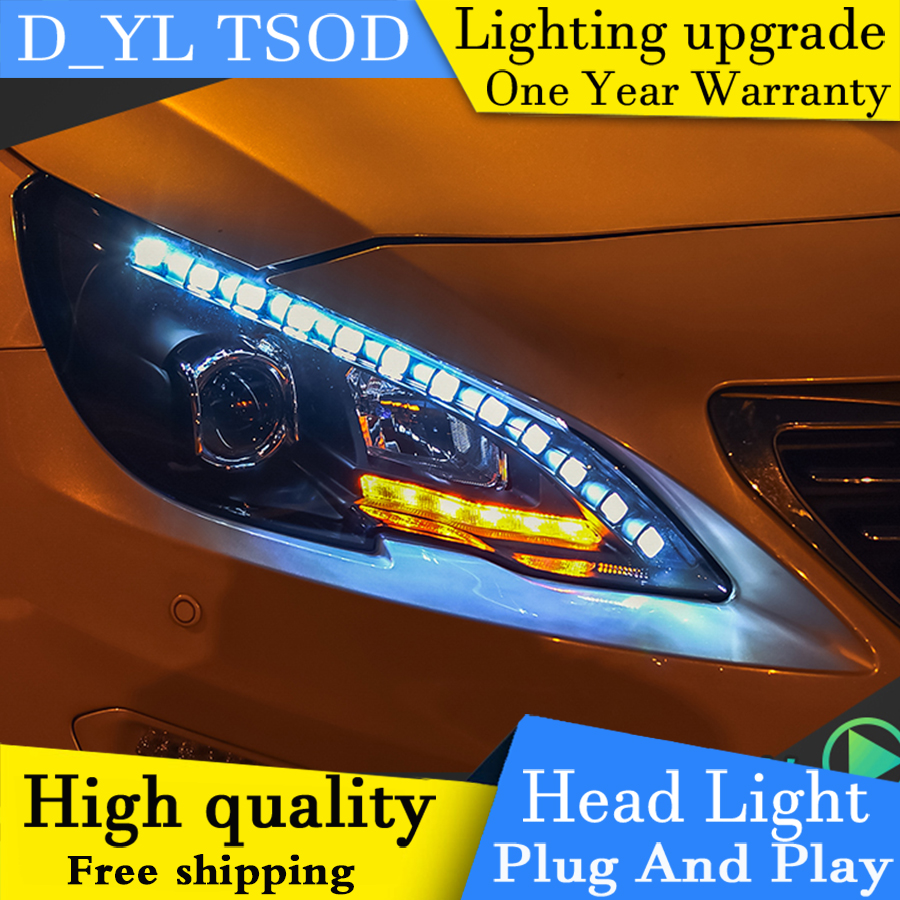DY L Car Styling for Peugeot 408 Headlights 2015 2016 408 Car Goods LED Headlight LED