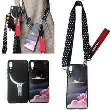 space moon shoulder strap tpu case for iphone XS MAX XR X 7 8 6 6S plus cover fashion Astronaut patterned soft silicon phon
