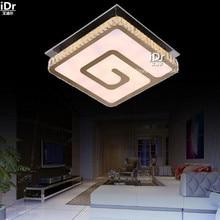 Простой нержавеющей стали квадрат привело кристалл лампы гостиной спальня ресторан квадратный вырез линии светодиодные фонари Потолочные Светильники wwy-0229