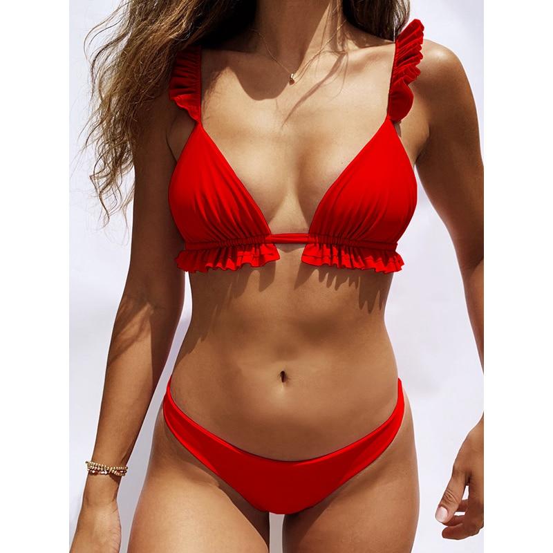 HTB1eXo1Xfb2gK0jSZK9q6yEgFXaG Peachtan Sexy bikini 2019 Mujer swimwear Women biquinis Feminino bathers Ruffles bathing suit Push up swimsuit Female beach wear