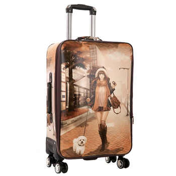 GraspDream 24 carry-on Suitcase with wheels Girl and kids cartoon pictures luggage travel bag trolley bags children\'s suitcases