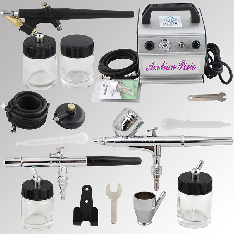 OPHIR 3x Airbrush Dual Action Single Action Airbrush Kit w Air Compressor for Body Paint Cake