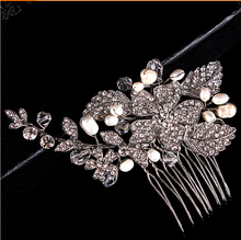 pas cher cristaux de perles la main de marie cheveux fleur peigne diadme en cristal princesse grils peignes de cheveux de mariage bijoux - Diademe Mariage Pas Cher