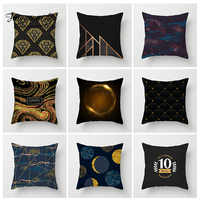 Fuwatacchi Stripe Geometric Cushion Cover Black and Gold Diamond Star Pillow Cover Home Bedroom Sofa Decor Polyester Pillowcase