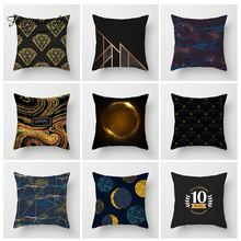 Fuwatacchi Stripe Geometric Cushion Cover Black and Gold Diamond Star Pillow Home Bedroom Sofa Decor Polyester Pillowcase