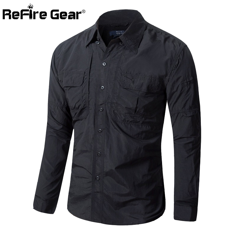 f1e30e92a566 Men Lightweight Urban Tactical Shirt Quick Dry Army Cargo Military Shirt  Summer Male Casual Clothes Breathable Long Sleeve Shirt-in Casual Shirts  from Men s ...