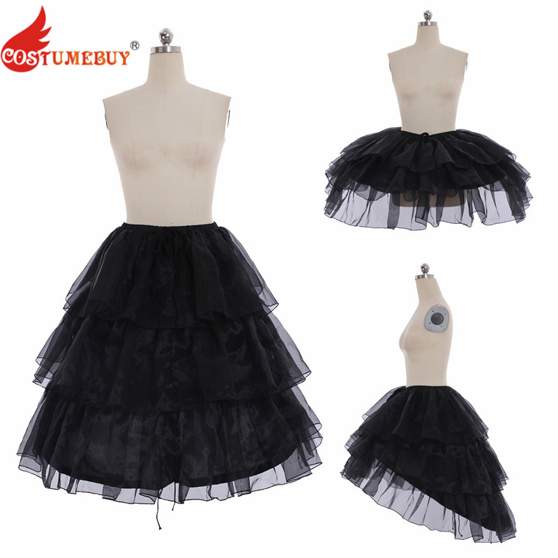 Costumebuy Lolita Gothic Underskirt 70CM Underdress 3 Layers Lace Crinoline Woman Wedding Pannier Casual Petticoat 3 Function