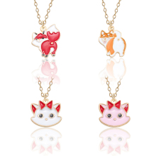 Creative Cute Animal Kitten Small Fox Alloy Pendant Necklace Color Drop Oil Fashion Girl Gold Chain Holiday Gift DIY