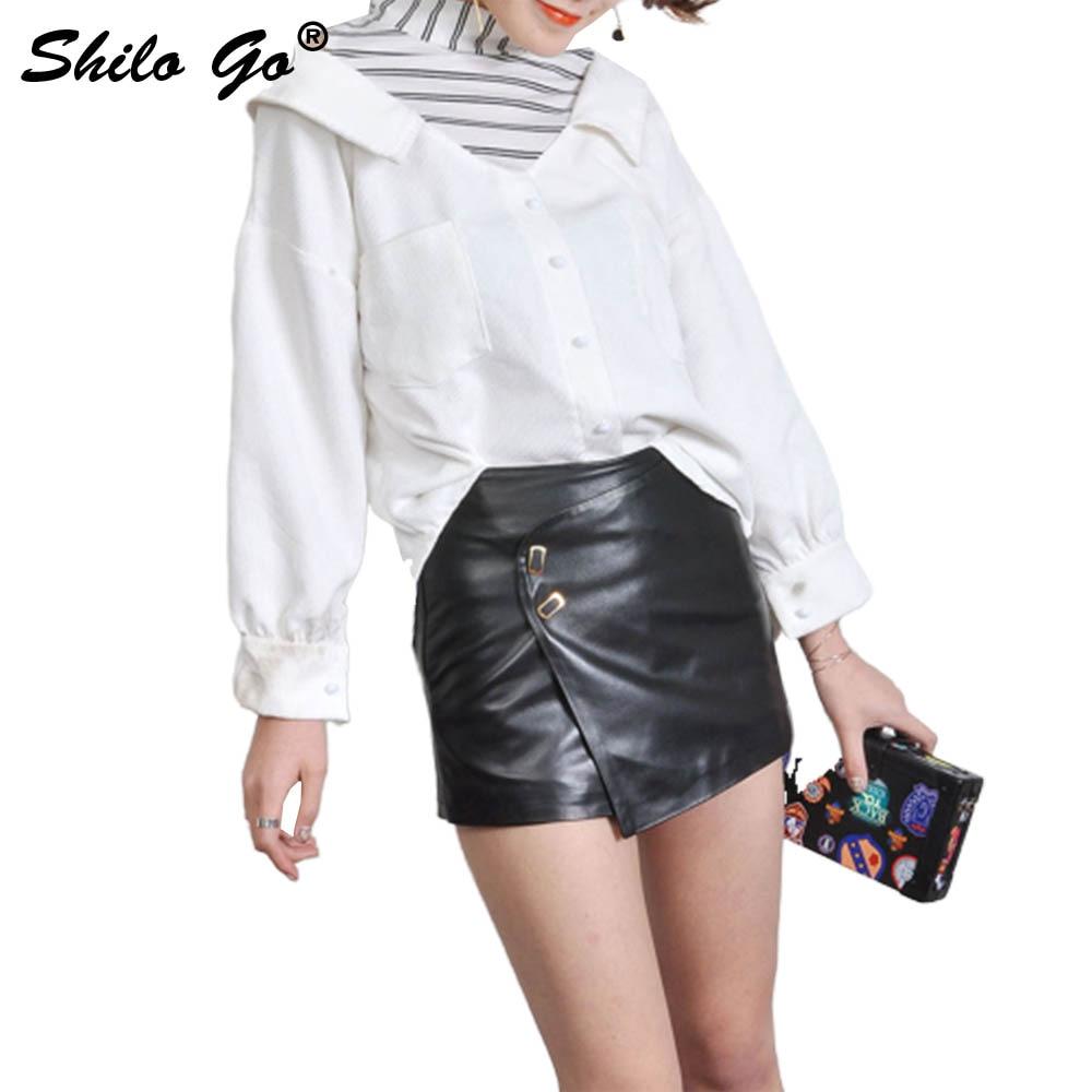 Leather Shorts Womens Spring Fashion Sheepskin Genuine Leather Shorts Double Metal Button Asymmetrical Shorts Skirts