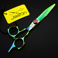 5.5inch Personalized Green Hair Scissors Barber Cutting Shears Salon Barber Shears Kit with Bag Professional Hairdressing