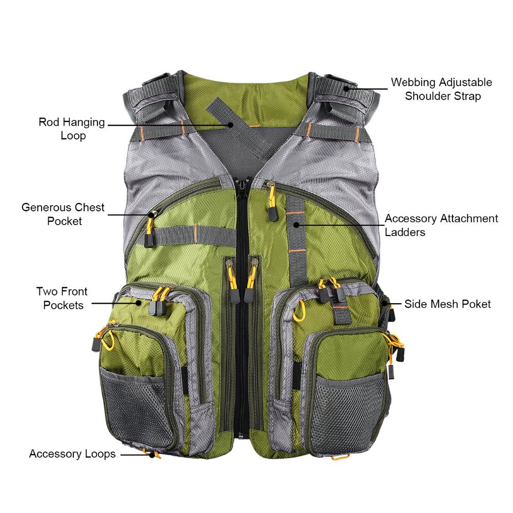 Men Outdoor Fishing Vest Breathable Swimming Life Jacket Waistcoat With Mutil Pocket Colete Salva Vidas in Fishing Vests from Sports Entertainment