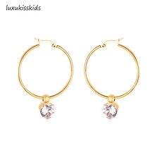 купить LUXUKISSKIDS 316L Stainless Steel Gold Hoop Party Zircon AAA CZ Earrings Circle Hoop Earring Set For Women Girls Vintage Jewelry дешево