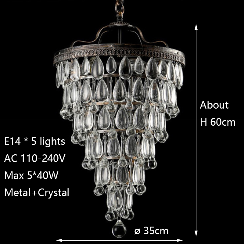Image 2 - Retro vintage cooper crystal drops E14 LED chandeliers/LARGE European EMPIRE STYLE lustres chandelier Lighting for living room-in Chandeliers from Lights & Lighting