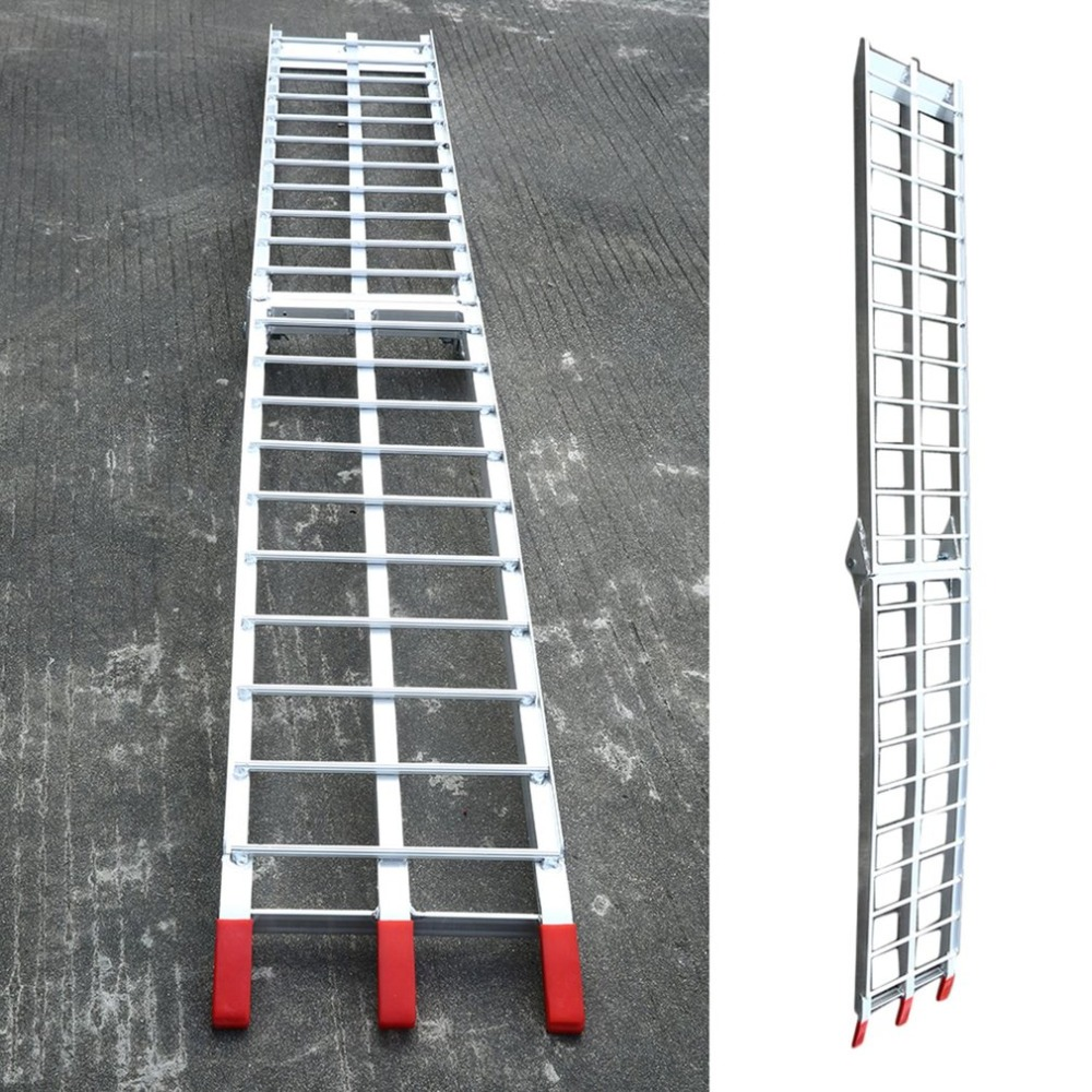 Practical Sturdy Constructure Heavy Duty Aluminum Alloy Motorcycle Bike Arched Foldable Loading Ramps H forfree shipping motorcycle street bike refires aluminum alloy thickening large shock absorption device beightening 5cm elevator