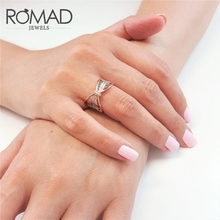 ROMAD Leaf Big Rings Zircon Stone Ring for Women Wedding Engagement bague femme Cute anillos mujer Fashion Jewelry 2019 R5