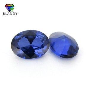 Image 2 - סיטונאי מחיר 3x5mm ~ 13x18mm #34 כחול אבנים סגלגל צורת מבריק לחתוך סינטטי קורונדום אבן אבני חן עבור תכשיטים