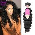 Humain Cheveux Bresilien Перуанский Глубокая Волна Девы Волос 4 Связки Deep Вьющиеся Weave Человеческих Волос Необработанные