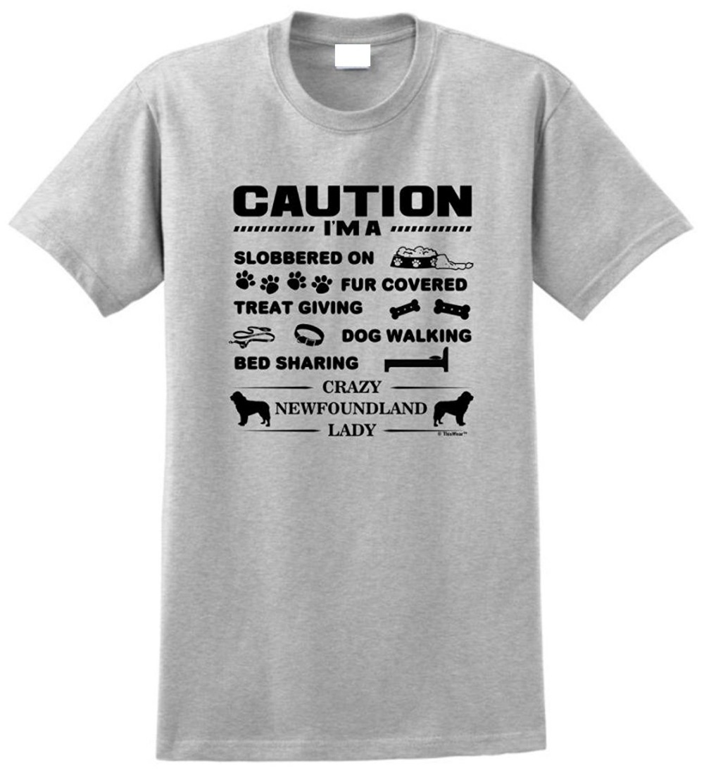 T Shirt Quotes Tall Men O Neck Short Sleeve I 39 M A Crazy Newfoundland Lady Dog Lover 39 S T Shirt in T Shirts from Men 39 s Clothing