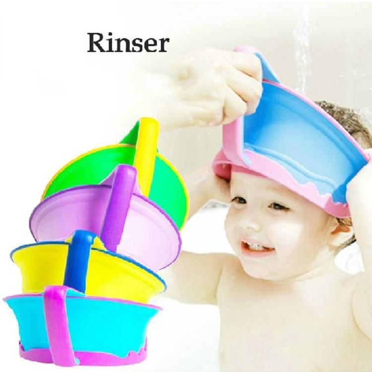 9760c856d8b7 2016 Новинка Регулируемая Baby Shower Кепки дети Для ванной козырек шляпа,  мытье волос щит для детей Детские брызг Водонепроницаемый
