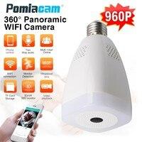 Модные Лампа видеонаблюдения Камера LS-QJ58 HD 960 P 360 градусов рыбий глаз панорамный видеонаблюдения Камера Беспроводной Wi-Fi IP Камера