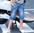 2016 Verano Nueva Moda Marca Red Stars Niños Shorts pantalones de Corea del Algodón de Los Niños Para Los Niños de Mezclilla Pantalones Cortos Adolescentes 4-15y caliente
