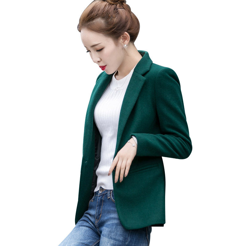 Ladies Wool Blazer Jacket Casual 2019 Autumn Winter New Korean Woolen Coat Short Single Buckle Business Wear Blends Suits F1038