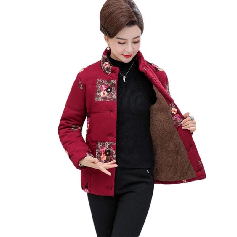 Middle aged women's cotton Jacket New Winter Warm Jacket Women Plus size cotton Jacket plus velvet Thick cotton parkas 5XL A1072