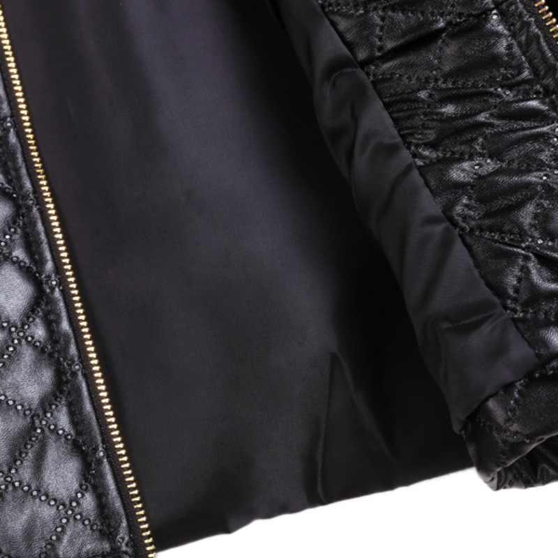 Кожаные куртки с длинным рукавом Женские Лоскутные тонкие короткие осенне-зимние пальто 2018 черный белый бомбер куртки на молнии Y6