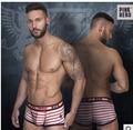 1 шт. марка Розовый герой полосой боксеры мужские гей белье динамический бахромой белье U капсула мужчины короткие плоские сексуальные боксер шорты