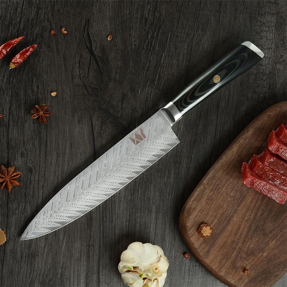 XYj VG10 couteaux de cuisine en acier damas 8 pouces motif d'os de poisson lame Chef couteau Simple Style légumes fruits couteau damas
