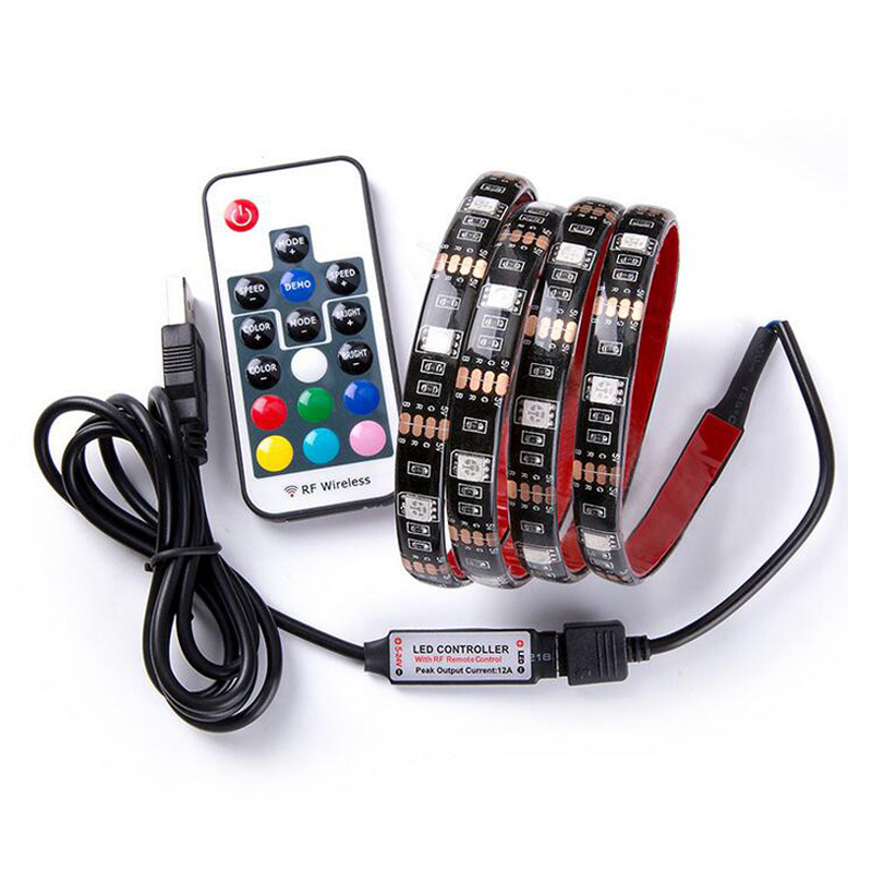 цена на 60Leds/M RGB LED Strip USB Power Backlight TV SMD 5050 RGB Flexible Neon Ribbon RF 17Key Remote LED Tape IP20 Strip Light
