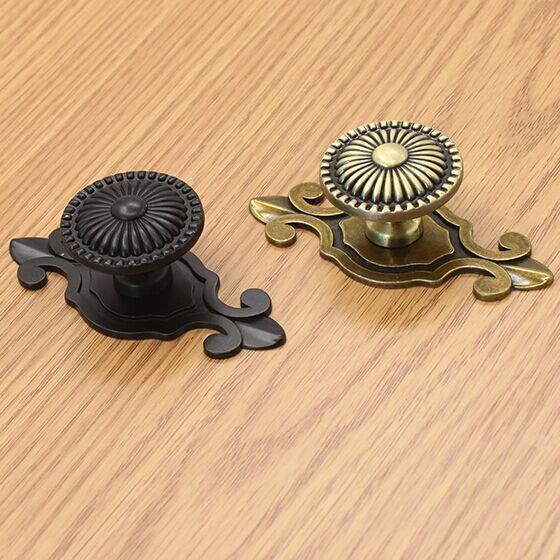 Armário de cozinha do punho bronze dresser pull knob antique brass black gaveta armário roupeiro mobiliário retro alças puxa maçanetas