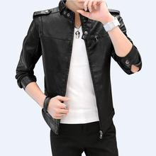 2018 Для Мужчин's Кожаные куртки Для мужчин стенд воротник пальто мужской мотоцикл кожаная куртка Повседневное Тонкий брендовая одежда M-4XL 813 #