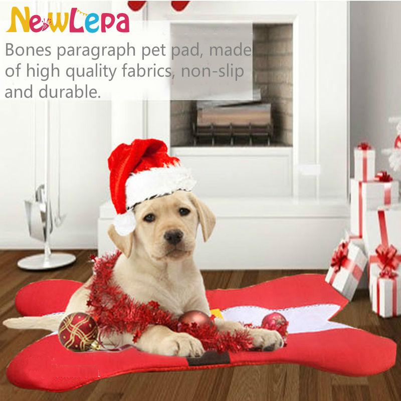 Hot Sale Christmas Dog Bed Santa Belt Bone Shape Design Pet Sleeping Nap Mat Pet Cat Couch Pad Dog Supplies Xmas Holiday