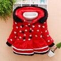 Детские новорожденных девочек красный любовь pattern зимний капюшоном пальто Корейские девушки толстый хлопок clothing